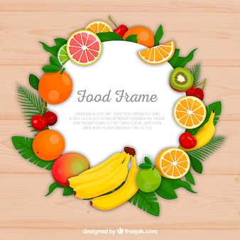 Food frame with fruits