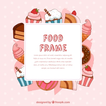 Food frame with hand drawn desserts