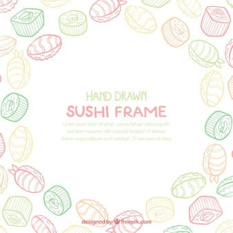 Food frame with hand drawn sushi