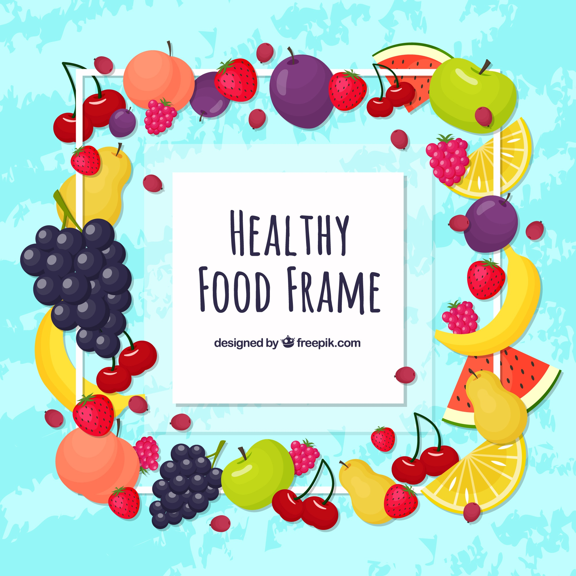 Food frame with healthy food