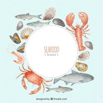 Food frame with seafood