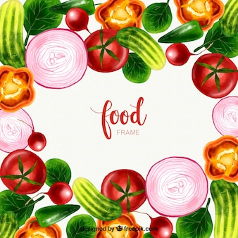 Food frame with vegetables in watercolor style