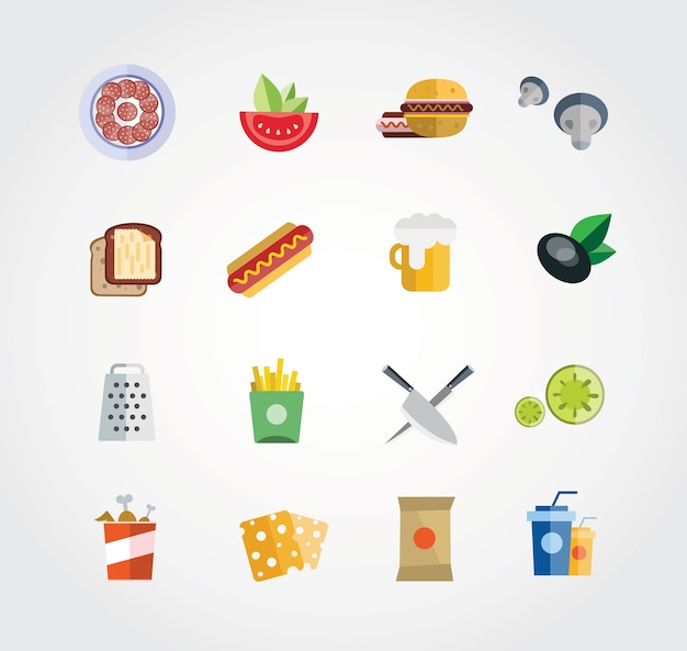 Food free vector set. icons for design