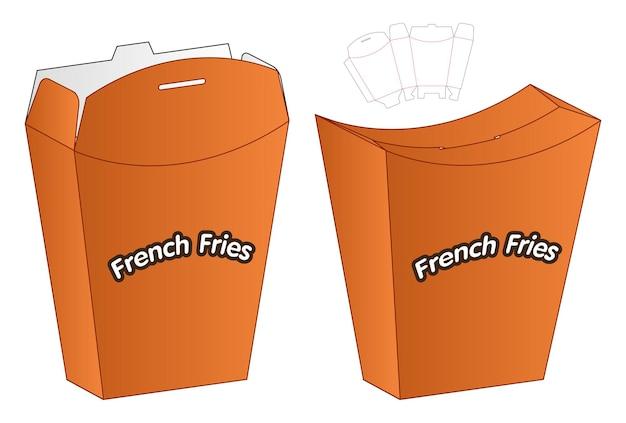 음식 감자 튀김 상자 포장 다이 컷 템플릿 디자인