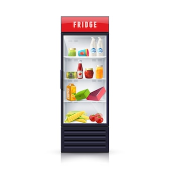 Food in fridge realistic illustration icon