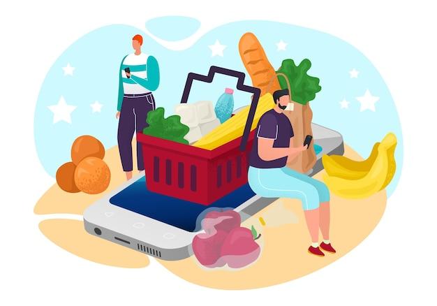 Еда из продуктового онлайн-магазина, векторные иллюстрации. интернет-магазин для персонажа человека, сидящего за экраном смартфона, заказать услугу из магазина. товар в корзине, доставка покупателю.
