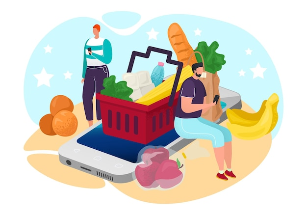 Food from online grocery, vector illustration. internet shop for man character sitting at smartphone screen, order service from store. product in market basket, delivery for customer.