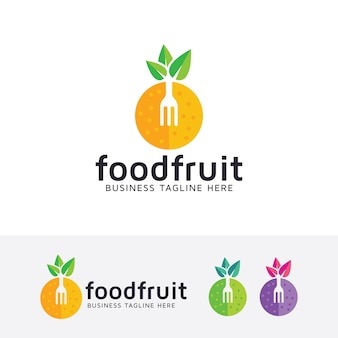 Food fruit logo template