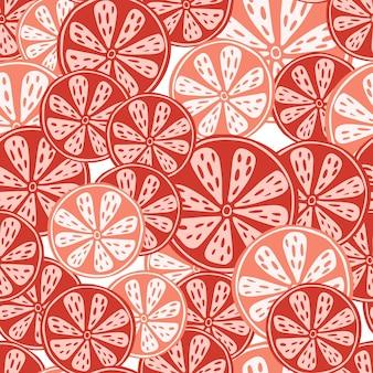 赤オレンジスライスと食品フルーツシームレスパターン
