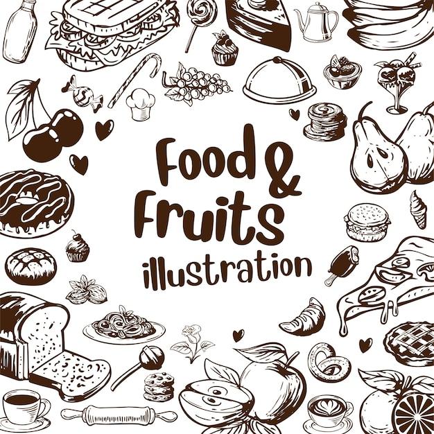 Food and fruits illustration frame