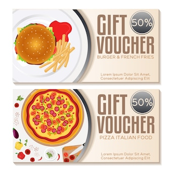 Food  gift vouchers set