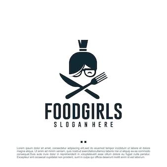 Еда для девочек, здоровая, шаблон дизайна логотипа