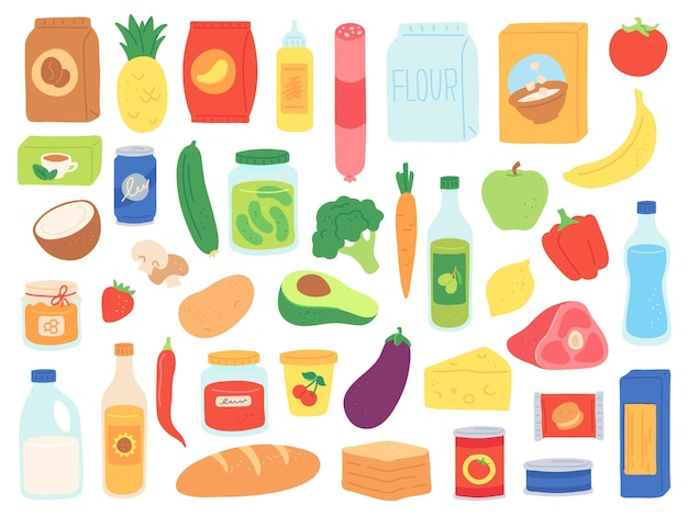 Food groceries. shop products in bags and bottles. supermarket snack, pasta and tomato can, milk and cereals. grocery goods vector set. illustration supermarket, sausage and bread, cheese and avocado
