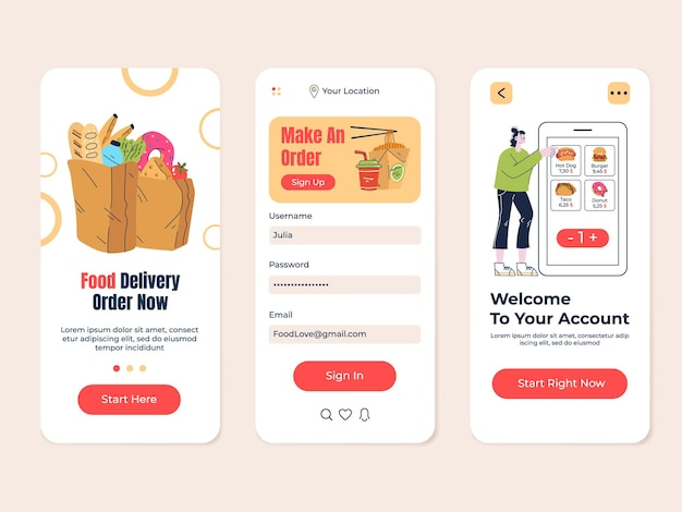 Food grocery delivery shop cafe searching mobile app vector flat modern design