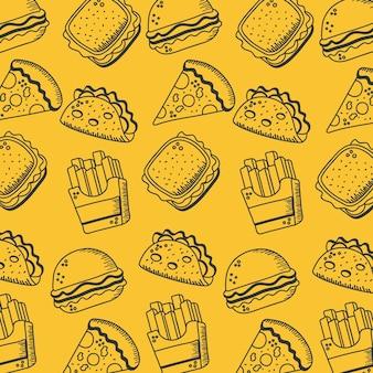 음식 손 그리기 및 선 스타일 아이콘 설정 레스토랑 및 메뉴 테마 그림을 먹고 배경 디자인