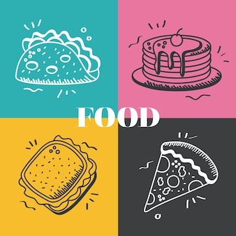 음식 손 그리기 및 선 스타일 기호 번들 디자인 먹는 레스토랑 및 메뉴 테마 그림