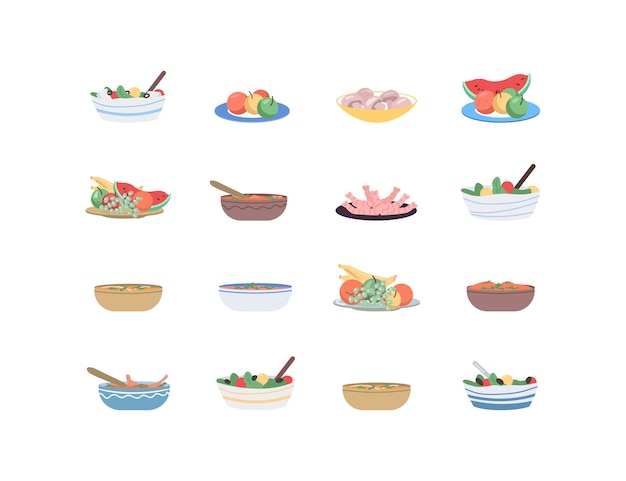 Food for holidays flat color object set