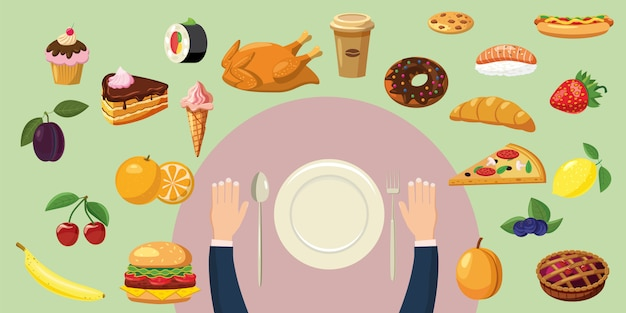 Food horizontal background concept plate