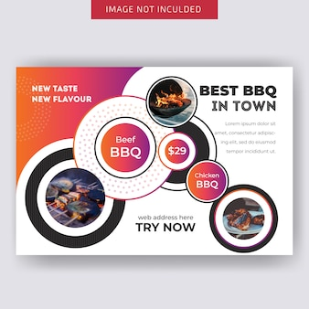 Food horizontal flyer template for restaurant