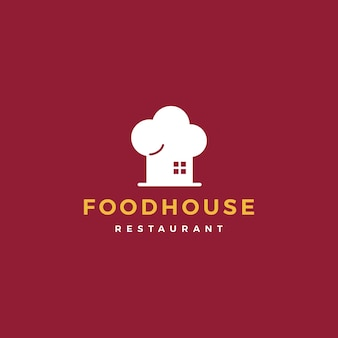 Food house chef hat kitchen restaurant cafe logo vector icon