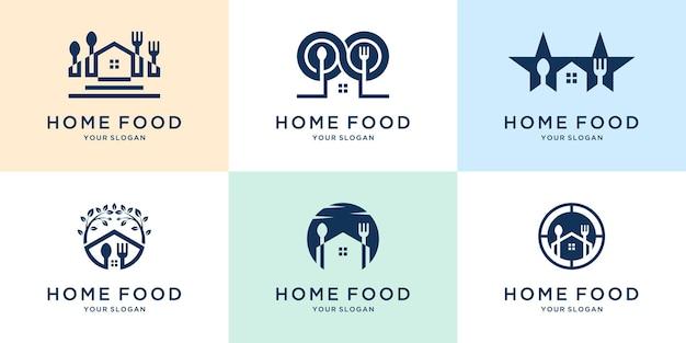 フードハウスのミニマリストのロゴとアイコンのインスピレーション