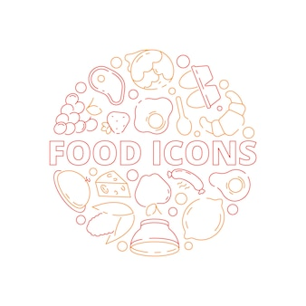 Food icon background. colored circle shape kitchen menu fresh products fish chicken and vegetables fruits natural meal
