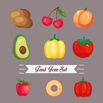 Food icon bundle design, food eat restaurant and menu theme vector illustration
