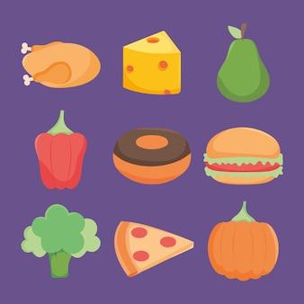 紫色の背景に食品アイコンコレクション