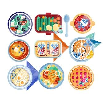 Продовольственный символ установлен. тарелки с разными блюдами: зеленый салат, суп с вареными яйцами, блины, бутерброды, рыба с лимоном, картофельное пюре с курицей, клюквенный пирог.