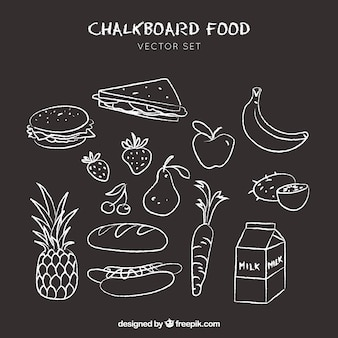 Food icons doodle drawn on chalkboard background