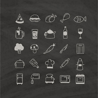 Food icons hand drawn on a black background