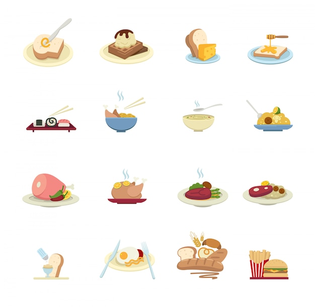 Food icons isolated on white background