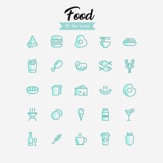 Food icons modern style