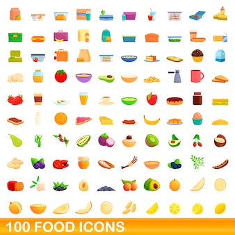 Food icons set. cartoon illustration of  food icons  set  on white background