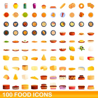 Набор иконок еды. карикатура иллюстрации иконок продуктов питания на белом фоне