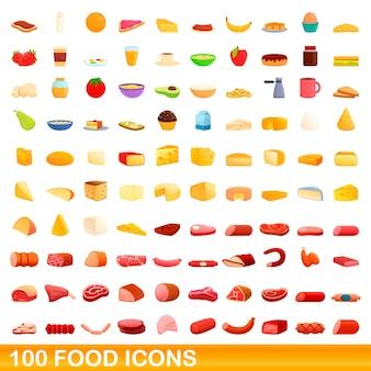 食品アイコンを設定します。白い背景に設定食品アイコンの漫画イラスト