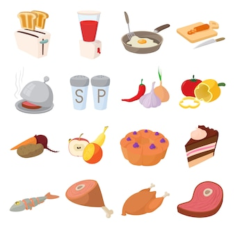 Food icons set in cartoon style vector