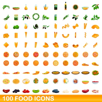 Food icons set, cartoon style