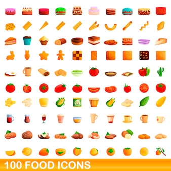 음식 아이콘 세트, 만화 스타일