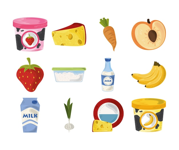 Food icons set, fruits carrot cheese yogurt and garlic ingredient and products