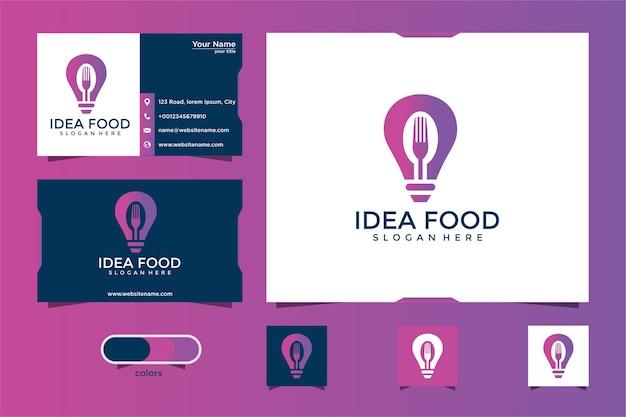 Дизайн логотипа идеи еды и визитная карточка