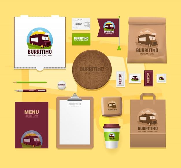 Набор макетов идентичности еды. брендовые пакеты