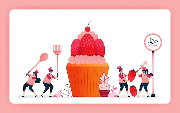 Food illustration of cook halal sweet strawberry cupcakes.
