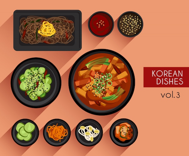 Food illustration  korean food vector illustration