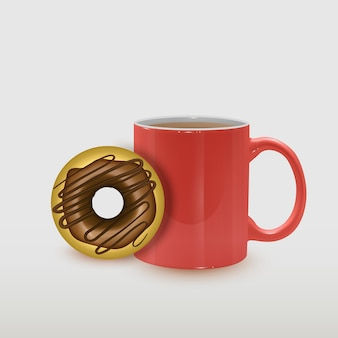 コーヒーカップとデザートの食べ物のイラスト