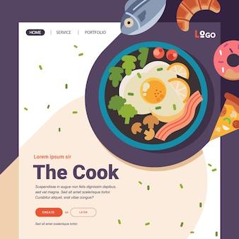 Food illustration for website banner template illustration