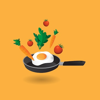 Food illustration for world food day with egg, tomato and carrot