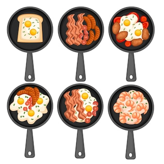 フライパンの食べ物。揚げ物、フライパンでの朝食。別の朝の食べ物のセット。メニューのロゴとラベルのアイコン。白い背景で隔離の平らなイラスト。