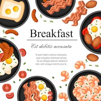 フライパンの食べ物。揚げ物、フライパンでの朝食。別の朝の食べ物のセット。