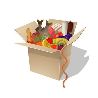 箱の中の食べ物。食品デリバリー。ベクトルフラット漫画イラスト
